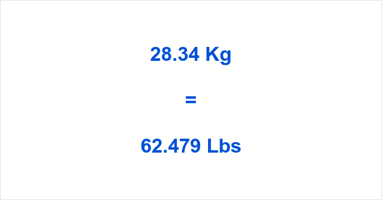 28.34 Kg to Lbs