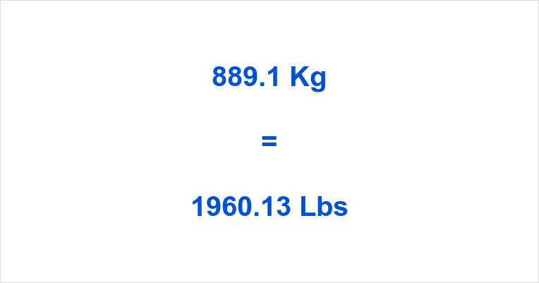 889.1 Kg to Lbs