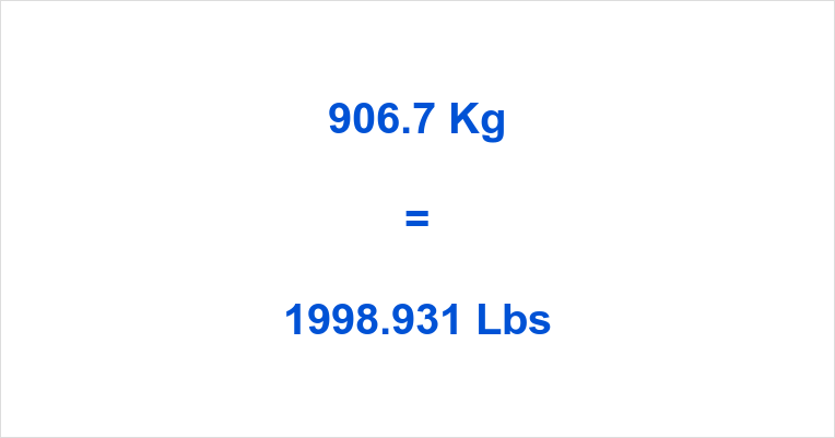 906.7 Kg to Lbs